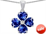 Celtic Love by Kelly 6mm Heart Shape Created Sapphire Lucky Clover Pendant style: 302622