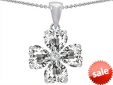 Celtic Love by Kelly™ 6mm Heart Shape Genuine White Topaz Lucky Clover Pendant style: 302625