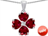 Celtic Love by Kelly 6mm Heart Shape Created Ruby Lucky Clover Pendant style: 302626