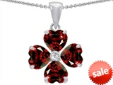 Celtic Love by Kelly 6mm Heart Shape Genuine Garnet Lucky Clover Pendant