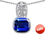 Original Star K™ Large 11x13 Cushion Cut Created Sapphire Bali Style Pendant