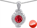 Original Star K™ 8mm Created Ruby Bali Style Pendant style: 302634