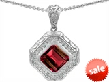 Original Star K™ 7mm Cushion Cut Created Ruby Bali Style Pendant