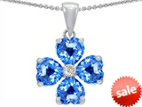 Celtic Love by Kelly 6mm Heart Shape Genuine Blue Topaz Lucky Clover Pendant
