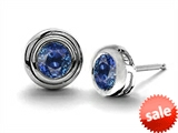 Original Star K™ Round Genuine Sapphire Earrings Studs style: 302731