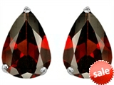 Original Star K™ Pear Shape 9x7mm Simulated Garnet Earrings Studs style: 302750