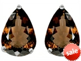 Original Star K™ Pear Shape 9x7mm Genuine Smoky Quartz Earrings Studs style: 302757