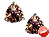 Original Star K™ Trillion 7mm Genuine Smoky Quartz Earring Studs