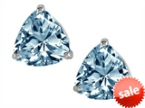 Original Star K™ Trillion 7mm Simulated Aquamarine Earring Studs