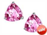 Original Star K™ Trillion 7mm Created Pink Sapphire Earring Studs