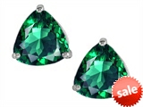 Original Star K™ Trillion 7mm Simulated Emerald Earring Studs
