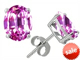 Original Star K™ Oval 8x6mm Created Pink Sapphire Earring Studs