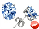 Original Star K™ Oval 8x6mm Simulated Aquamarine Earrings Studs style: 302769