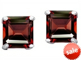 Original Star K™ Square 7mm Simulated Garnet Earrings Studs style: 302778