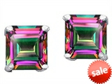 Original Star K™ Square 7mm Rainbow Mystic Topaz Earring Studs