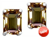 Original Star K™ Emerald Cut 8x6mm Genuine Smoky Quartz Earrings