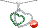 Original Star K™ Simulated Emerald Double Heart Pendant style: 302808