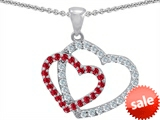 Original Star K™ Created Ruby Double Heart Pendant