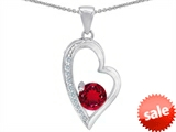 Original Star K™ Round Created Ruby Heart Pendant
