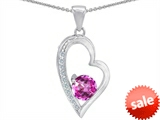 Original Star K™ Round Created Pink Sapphire Heart Pendant style: 302823
