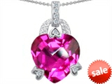 Original Star K™ Large 13mm Heart Shaped Created Pink Sapphire Designer Pendant