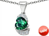 Original Star K™ Heart Shaped Simulated Emerald Pendant style: 302931
