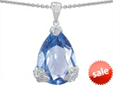 Original Star K™ Large 11x17 Pear Shape Simulated Aquamarine Designer Pendant