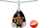 Original Star K™ Large 11x17 Pear Shape Genuine Smoky Quartz Designer Pendant