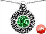 Original Star K™ Bali Style Round 7mm Simulated Emerald Pendant