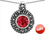 Original Star K™ Bali Style Round 7mm Created Ruby Pendant style: 302944