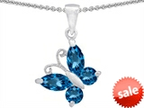 Original Star K™ Butterfly Pendant Made with Genuine Blue Topaz