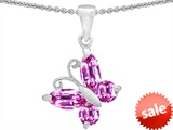 Original Star K™ Butterfly Pendant Made with Created Pink Sapphire style: 302955