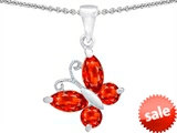 Original Star K™ Butterfly Pendant Made with Simulated Mexican Fire Opal