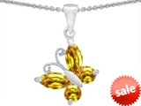 Original Star K™ Butterfly Pendant Made with Genuine Citrine style: 302959