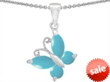 Original Star K™ Butterfly Pendant Made with Simulated Turquoise style: 302965