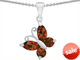 Original Star K™ Butterfly Pendant Made with Simulated Red Fire Opal
