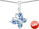 Original Star K™ Butterfly Pendant Made with Simulated Aquamarine