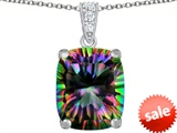 Original Star K™ Large 12x10mm Cushion Cut Rainbow Mystic Topaz Pendant