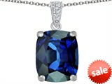 Original Star K™ Large 12x10mm Cushion Cut Created Dark Blue Sapphire Pendant style: 302976