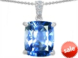 Original Star K™ Large 12x10 Cushion Cut Simulated Aquamarine Designer Pendant style: 302979