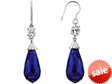 Original Star K™ Briolette Drop Cut Created Sapphire Hanging Hook Chandelier Earrings style: 302987
