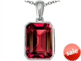 Original Star K™ Emerald Cut 10x8mm Created Ruby Pendant style: 302996