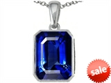 Original Star K™ Emerald Cut 10x8mm Created Sapphire Pendant style: 302998