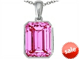 Original Star K™ Emerald Cut 10x8mm Created Pink Sapphire Pendant