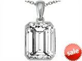 Original Star K™ Emerald Cut 10x8mm Genuine White Topaz Pendant style: 303002