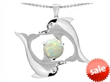 Original Star K™ 6mm Round Simulated Opal Dolphin Pendant style: 303004
