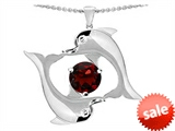Original Star K™ Round 6mm Simulated Garnet Dolphin Pendant style: 303006