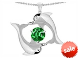 Original Star K™ Round 6mm Simulated Emerald Dolphin Pendant style: 303011