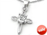 Original Star K™ Round Genuine White Topaz Cross Pendant style: 303022