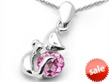 Original Star K™ Round 6mm Created Pink Sapphire Cat Pendant